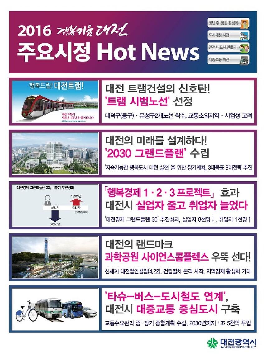 2016년 5월 상반기 대전시정 핫뉴스는?