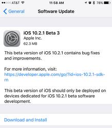 iOS 10.2.1 베타3 IPSW 다운로드 링크 및 iOS 10.2.1 퍼블릭 베타3 업데이트 방법