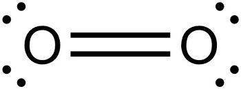 산소 분자의 루이스 구조식