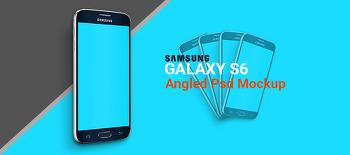 → 삼성 갤럭시 S6 45도 각도 PSD 목업 :: Samsung Galaxy S6 Angled Psd Mockup