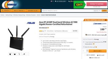 (Newegg) Asus RT-AC68P Dual-band AC1900 Gigabit Router 리퍼 ($99.99/0)