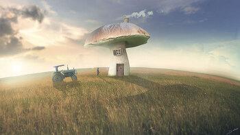 포토샵 판타지 합성 강좌 버섯 (Photoshop Manipulation Tutorial Mushroom)