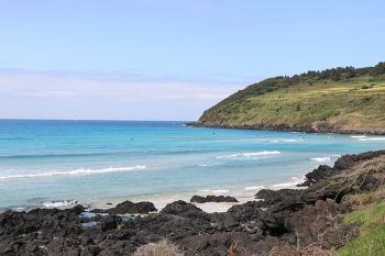 [제주여행 추천] 점점 진해지는 에메랄드 빛 바다 함덕 서우봉 해변
