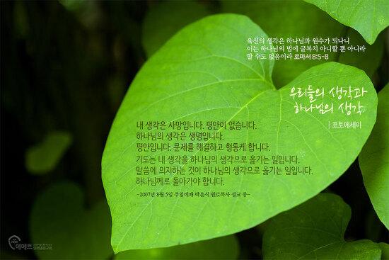 [평강제일교회 포토에세이]우리들의 생각과 하나님의 생각