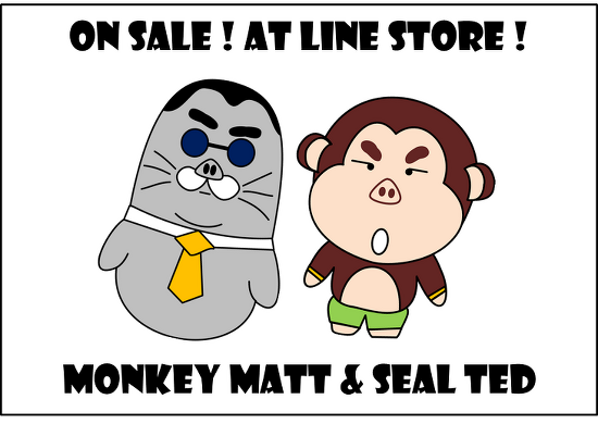 On Sale !! Line stiker 'Monkey Matt & Seal Ted' made with powerpoint 絶賛 販売中