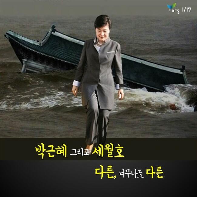 """박근혜와 세월호 """"다른, 너무나도 다른"""""""