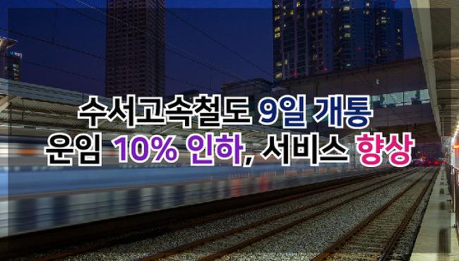 수서고속철도 9일 개통…운임 10% 인하, 서비스 향상