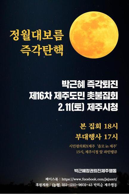 정월대보름 즉각 탄핵  박근혜 즉각퇴진 제16차 제주도민 촛불집회