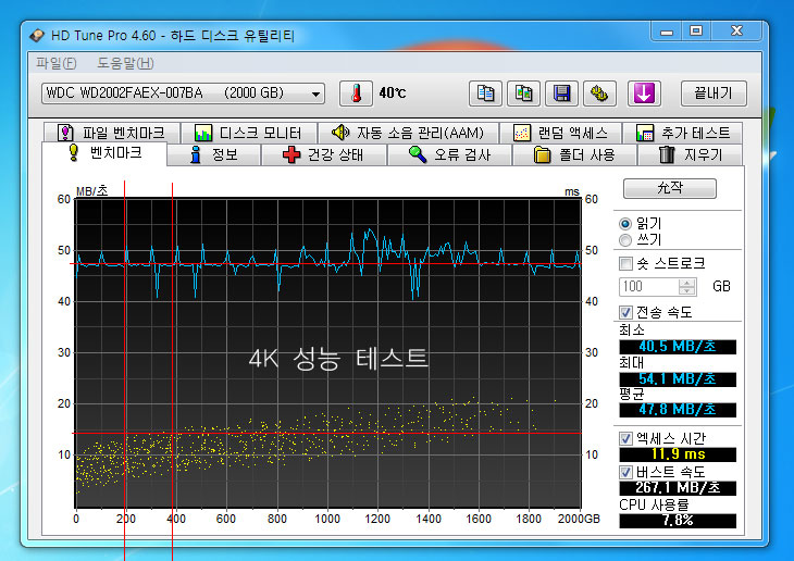 하드디스크 앞자르기, 하드 앞자르기, 20%, 10%, 7.5%, 10.5%, 구간, HD tune, Caviar Black WD2002FAEX, WD Caviar Black WD2002FAEX, 섹터, 플래터, IT, 하드디스크, HDD, SSD, ms, MB/sec, MB, 메가바이트, 메가, 엑세스 타임, access time, 튜닝, 연구, 컴퓨터,하드디스크 앞자르기는 보통 총 용량의 20% 정도만 운영체제 OS용 공간으로 활용해서 성능을 올리는 방법 입니다. 하는 방법은 간단합니다. 그냥 C드라이브에 해당하는 용량을 총 하드디스크의 20%로 할당해주면 됩니다. 직접적인 원리는 하드디스크의 앞자르기 즉 가장 빠른 부분인 가장자리 부분을 파티션으로 할당해서 사용하는 것 입니다. 원반형태의 디스크를 플래터라고 부르는데 중앙의 모터가 플래터를 회전시키게 됩니다. 해더가 파일들을 읽어들이거나 쓸 때 , 플래터의 가장자리가 속도가 더 빠르게 되죠. 몽중이를 휘둘러서 맞을 때 몽둥이의 안쪽보다 가장자리 끝으로 맞으면 충격이 더 쌘것과 비슷한 원리죠. 실제로 이번시간에 WD Caviar Black WD2002FAEX 하드디스크를 OS 용으로 사용한다는 가정하에서 10% 20% 50% 로 나눠서 성능 테스트를 해보도록 하겠습니다. 물론 테스트에는 HD Tune Pro 버전을 사용합니다. Pro 버전을 활용해야 숏커트 용량을 확인하여 실제 벤치가 가능하기 때문이죠. 그렇지 않으면 하드디스크를 전체용량으로 테스트를 하기 때문에 정확한 테스트가 이뤄지지 않습니다.