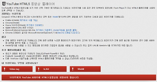 (그림 2. IE9에서 유튜브 HTML5 서비스 페이지)