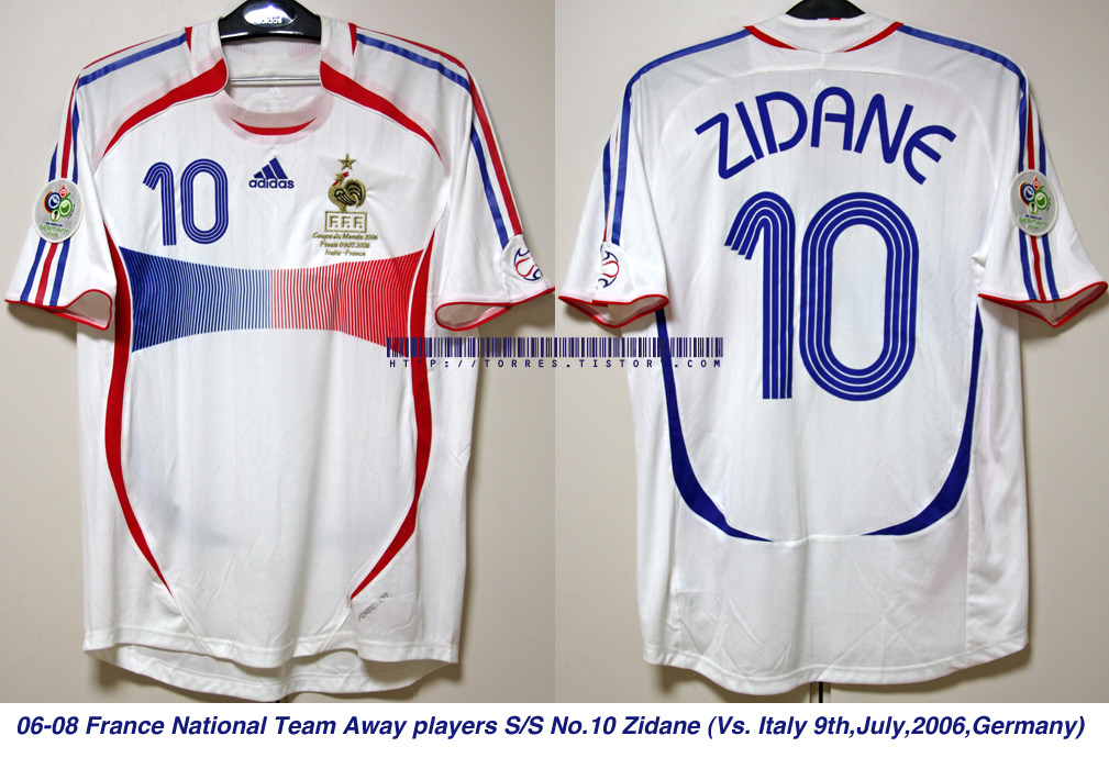06-08 France National Team Away players S/S No.10 Zidane (Vs.Italy , 9th,July,2006, Germany)