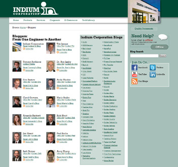 Indium의 기업사이트