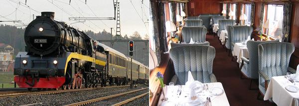 오리엔트 특급열차와 잘 꾸며진 내부 식당