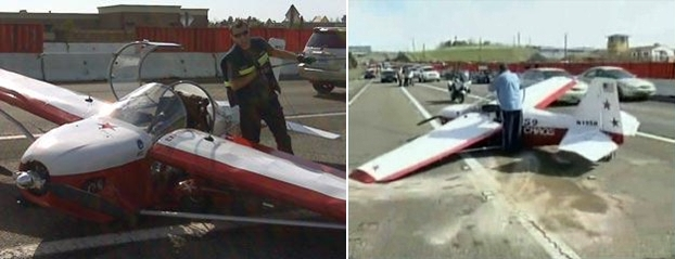 고속도로 한 가운데 내려버린 비행기