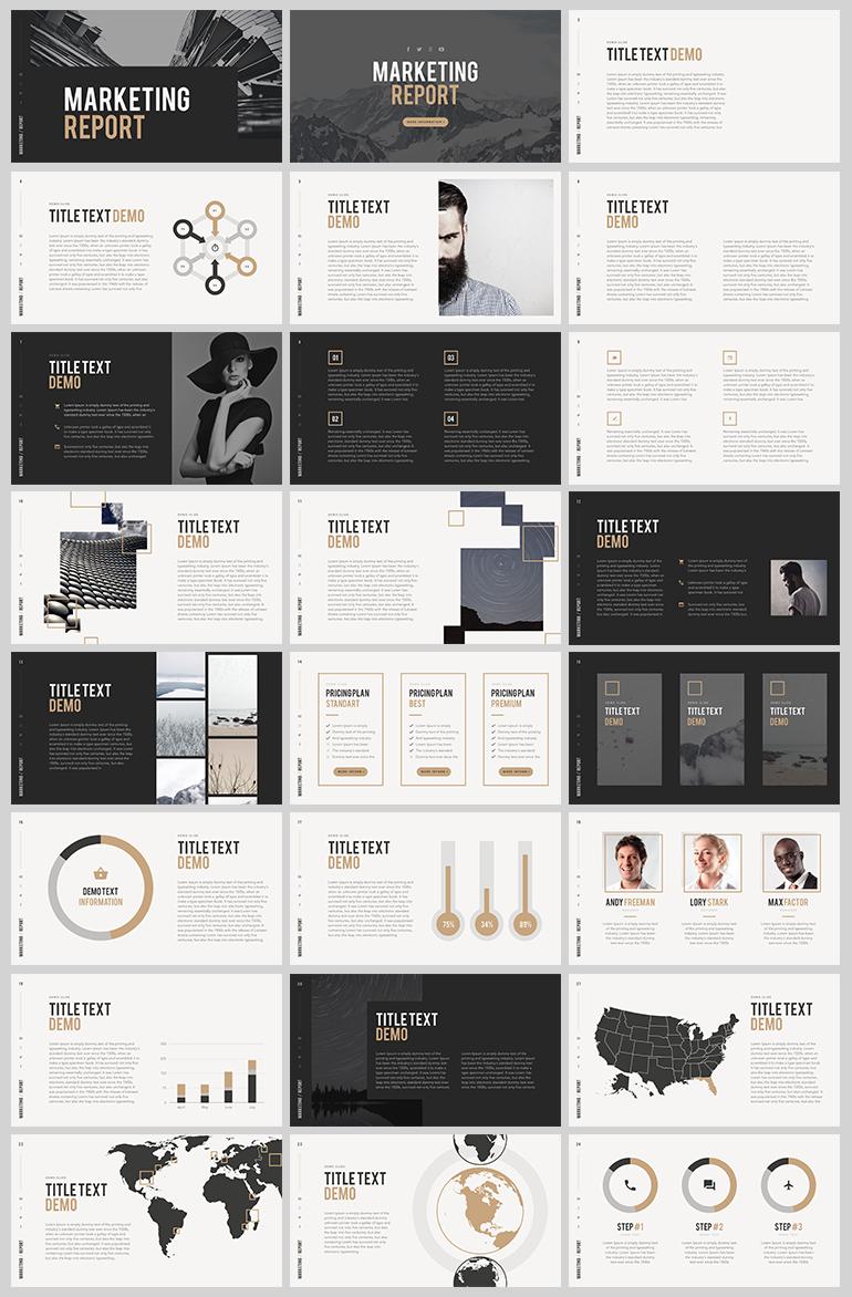 그레이 톤의 깔끔한 PPT 템플릿 - Free Grey tone PowerPoint Template for Marketing Report