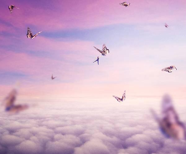 포토샵에서 초현실적인 거대한 나비와 아름다운 풍경 만들기