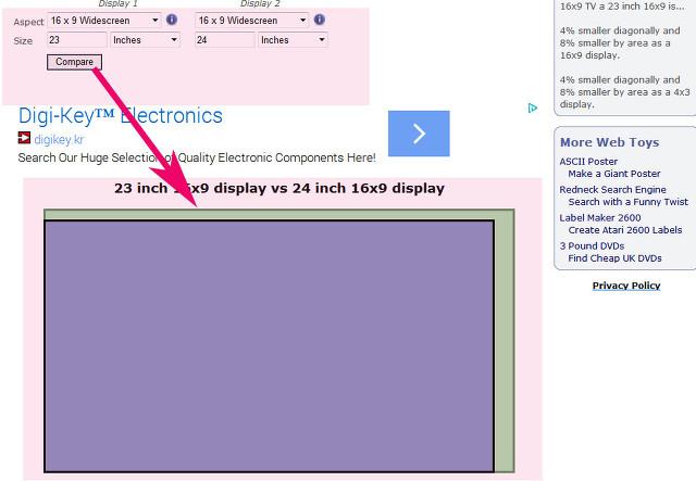 lcd led모니터 크기 인치 비교 사이트 이용방법(23,24,27인치비교)