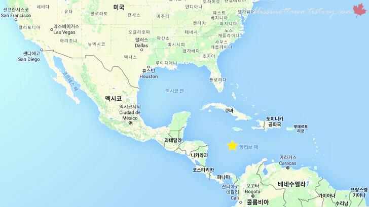 카리브 해 지도입니다