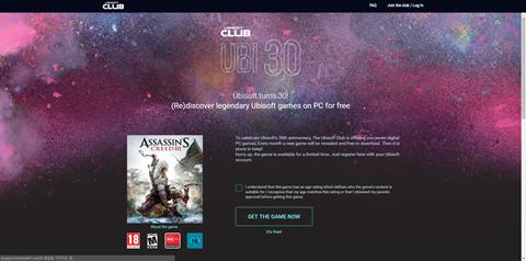 유비소프트 30주년 기념, 어쌔신크리드3 무료 다운로드