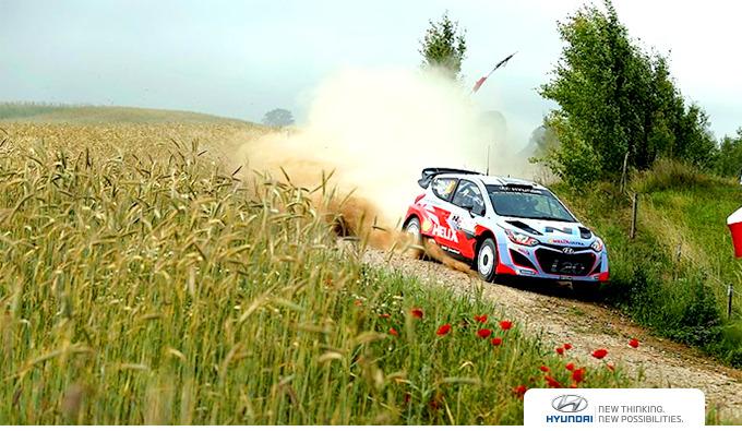 오프로드 주행 중인 WRC 차량