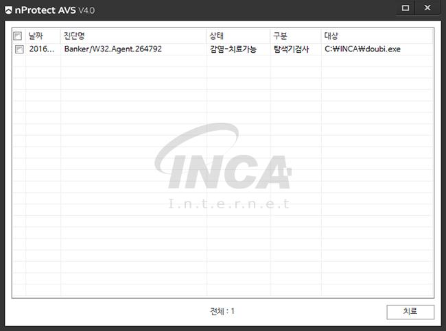 [그림 4] nProtect Anti-Virus/Spyware V4.0 진단 및 치료 화면