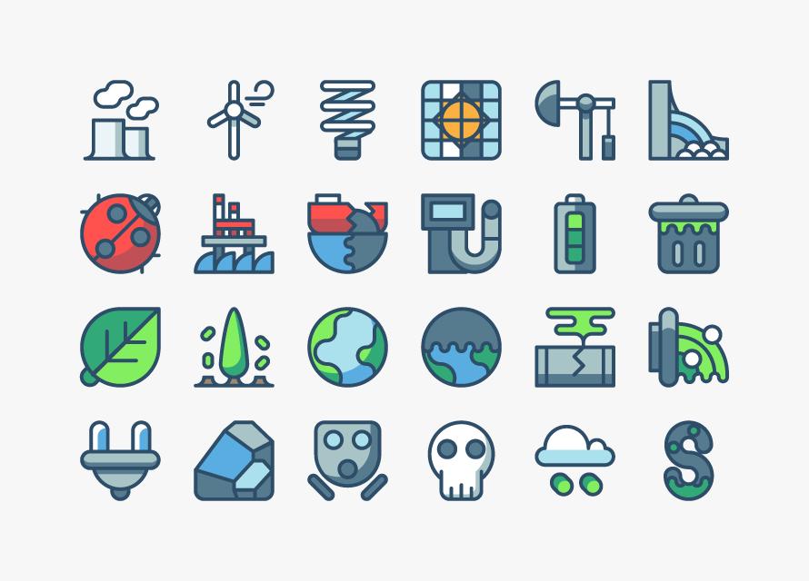 Скачать Eco Technology Flat Icons: 웹디자인 & 포토샵 :: 각종 무료 아이콘 세트