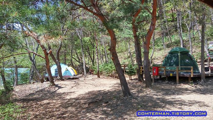 용현자연휴양림 캠핑장 데크