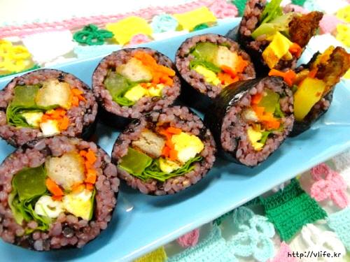 흑미 돈가스 김밥