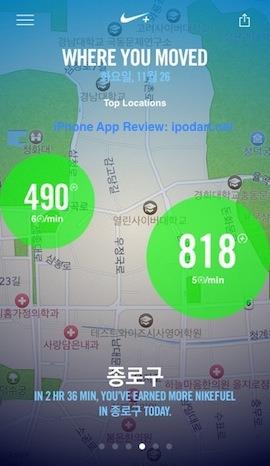 아이폰5s Nike+ Move 활동 운동량 추적