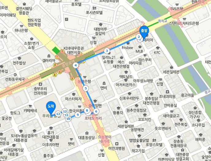 출발 = 엑소 팬싸 장소, 도착 = B.A.P 팬싸 장소 도보이동 지도
