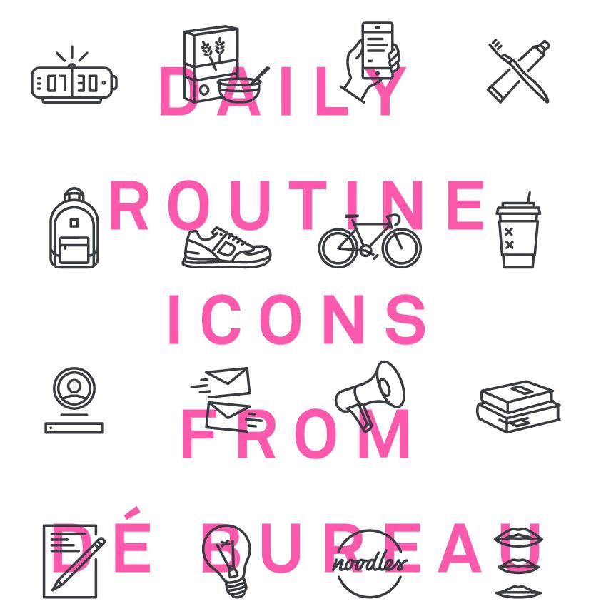 디자이너의 하루 일과에서 영감을 받은 32 가지 무료 벡터 일상 아이콘 - 32 Free Vector Designer's Daily Routine Icons