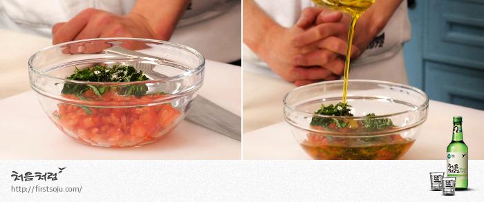 토마토 소스, 올리브 유, 소금, 후추, 소스 만들기