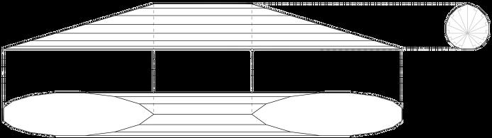 앞, 옆, 위에서 본 한 면 안정 19면체