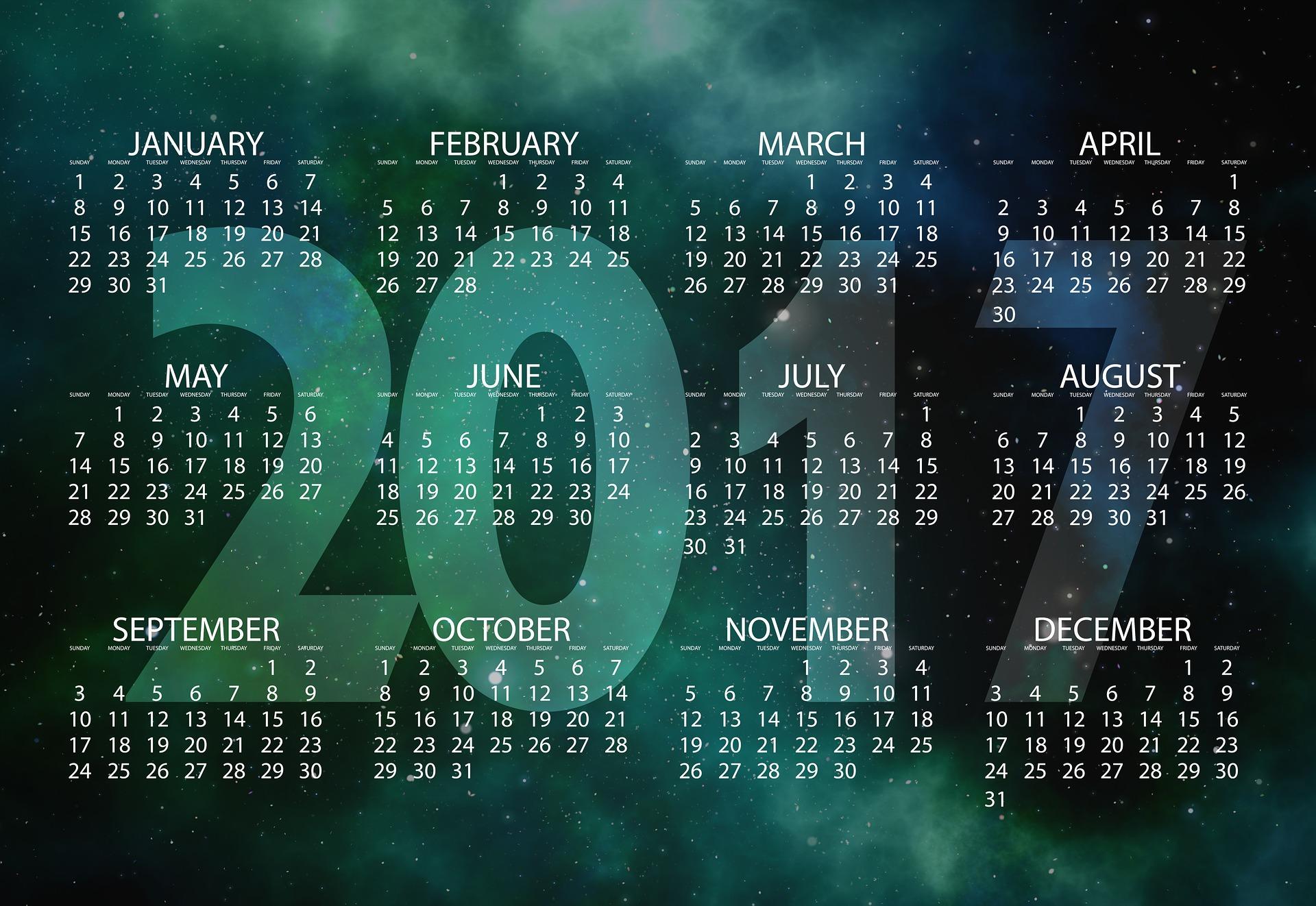 2017년 달력