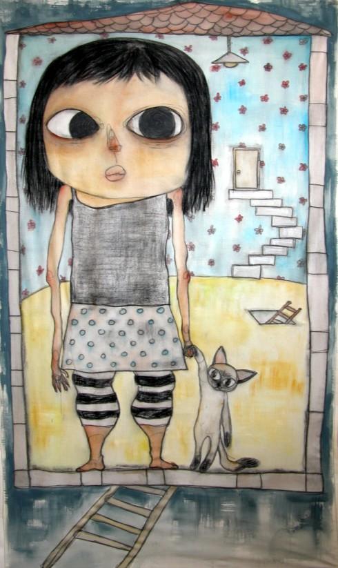 나랑 같이 있어 _ conte and acrylic on cloth _ 76×126 _ 2006