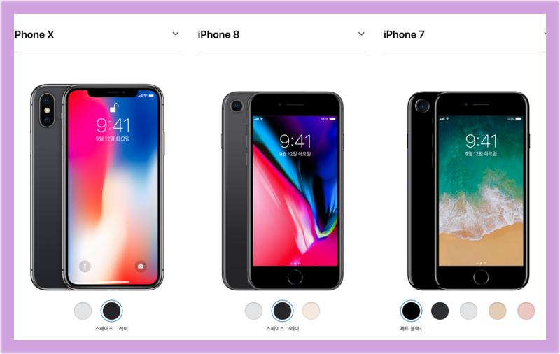 아이폰 시리즈 화면비교