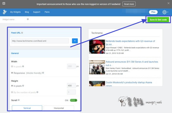 FeedWind 웹페이지용 RSS 피드 위젯 설정