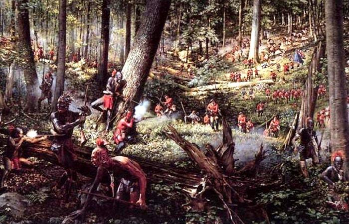 사진: 프렌치 인디언 전쟁의 모습. 영국과 프랑스는 서로 인디언을 끌어 들여서 전쟁에 이용했다. 결국 영국이 이겼지만, 인디언은 이용만 당하고 자기 땅에서 쫓겨났다. [프렌치-인디언 전쟁의 과정]