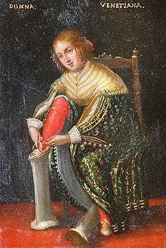 초핀을 신는 여성 Chopines woman