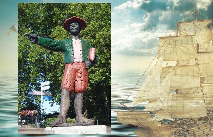 사진: 하멜표류기로 유명한 하멜의 동상. 하멜표류기는 유럽에 조선을 알리는데 중요한 문헌이 되었다. 이 동상도 왼쪽 팔에 책을 끼고 있다. [하멜 - 박연의 통역과 하멜표류기]
