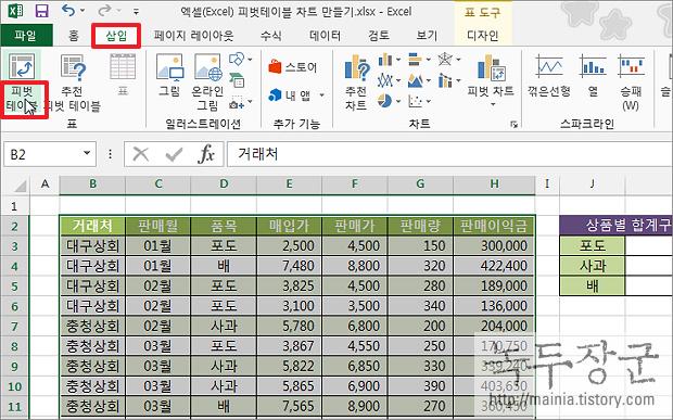 엑셀 Excel 피벗 테이블 확대, 축소 버튼 인쇄할 때 나오게 하는 방법