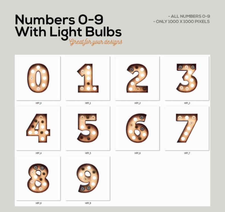 독특한 전구가 박힌 숫자 폰트 Free Marque Light Bulb Numbers