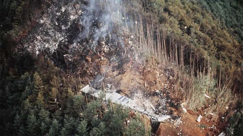 사진: 하늘에서 찍은 JAL123기의 추락 잔해. 날개는 추락 중에 떨어져 나갔다.