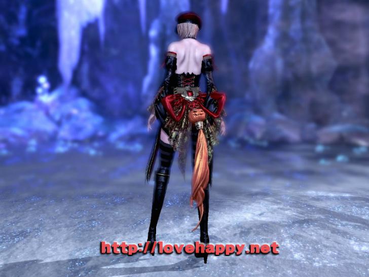 블레이드앤소울 의상 - 할로윈 분위기의 붉은띠 호박의. 드레스 의상 004