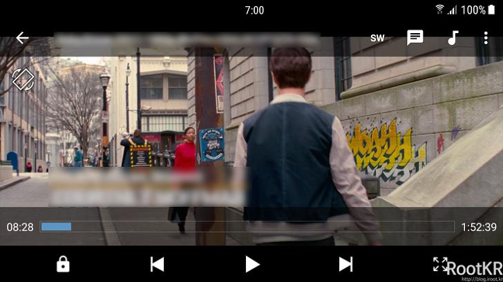 MX플레이어 DTS 코덱 적용후 영화 재생 테스트 화면